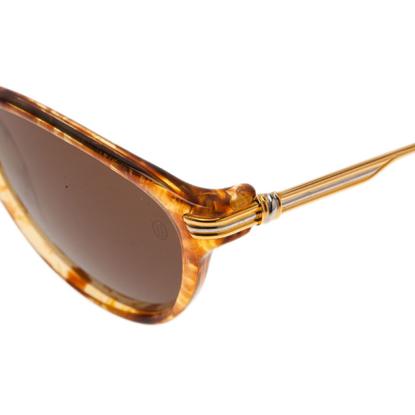 Cartier Brown Elcat Gild Honey Sunglasses