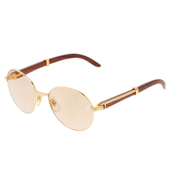 Cartier Gold Rimmed Wooden Round Bagatelle Sunglasses