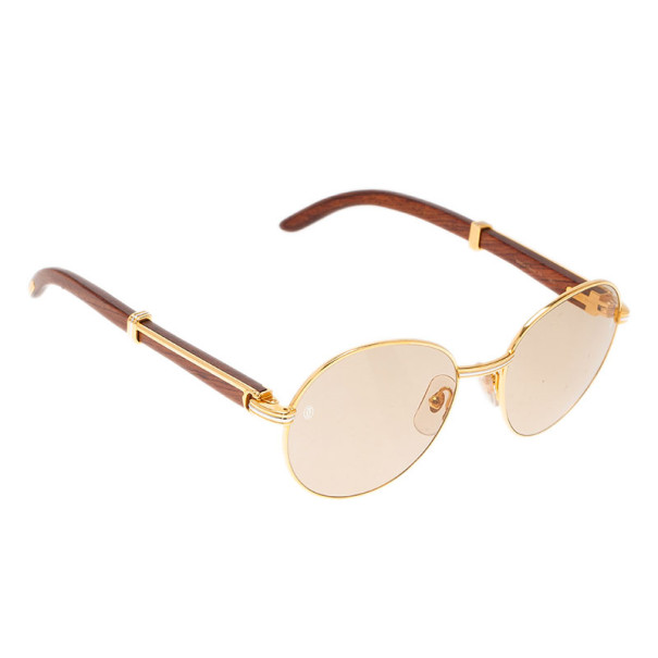 Buy Cartier Gold Rimmed Wooden Round Bagatelle Sunglasses at best ...