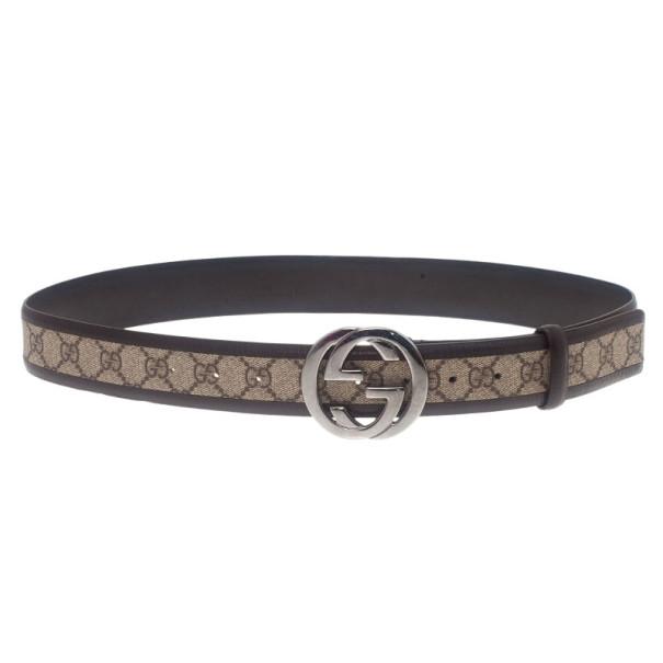 Gucci Brown Guccissima Canvas GG Buckle Belt 100CM