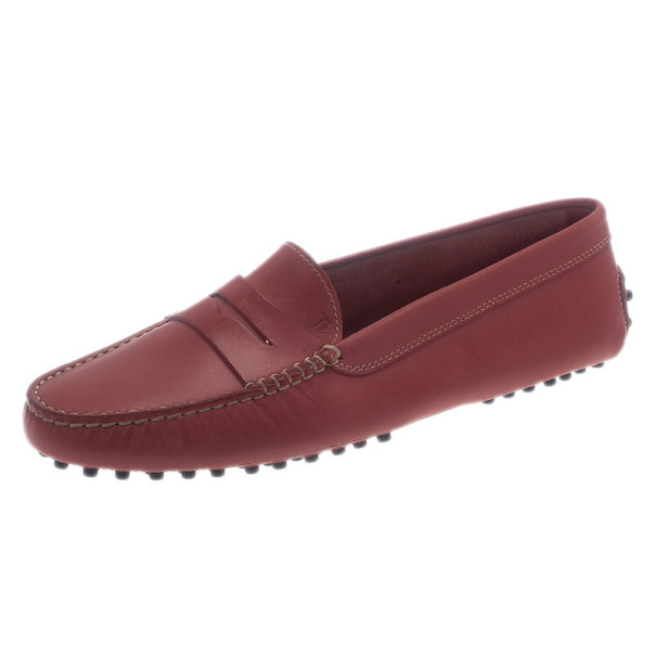 Tod's Pink Leather Penny Loafers Size 39