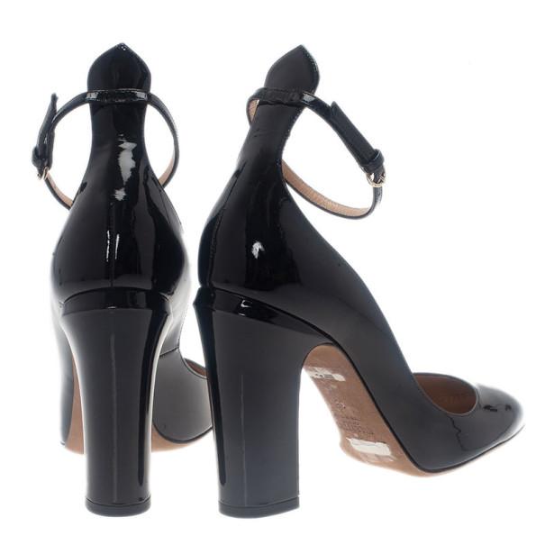 Valentino Black Patent Tango Ankle Strap Pumps Size 38