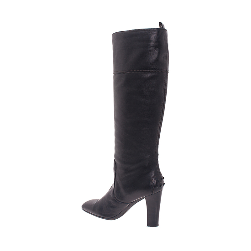Tod's Black Leather Tall Boots Size 38
