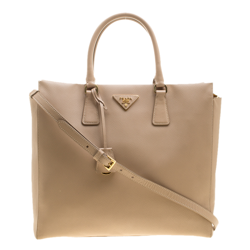 2afa6ff1df0933 ... discount prada beige saffiano leather north south tote buy sell lc  33e58 36eac