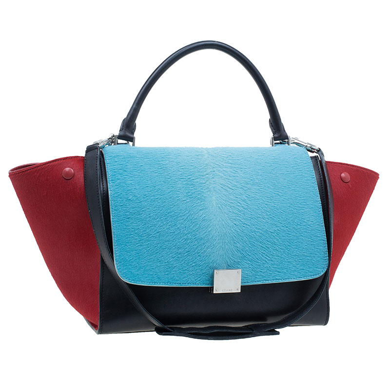 Celine Tricolor Leather Pony Hair Medium Trapeze Bag