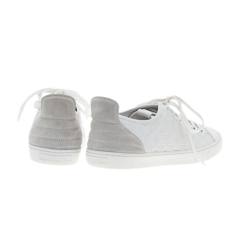 Louis Vuitton White Leather and Suede Punchy Sneakers Size 37.5