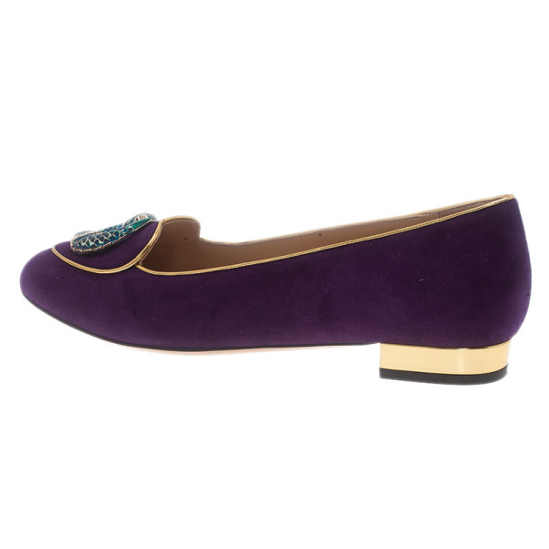 Charlotte Olympia Purple Suede Pisces Smoking Slippers Size 40