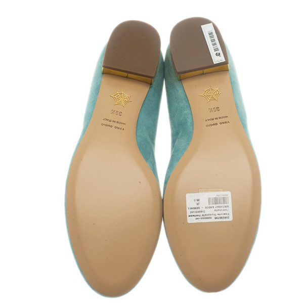 Charlotte Olympia Light Blue Suede Gemini Smoking Slippers Size 39.5