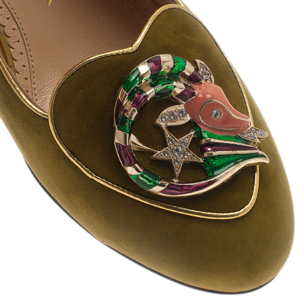 Charlotte Olympia Green Suede Capricorn Smoking Slippers Size 38.5