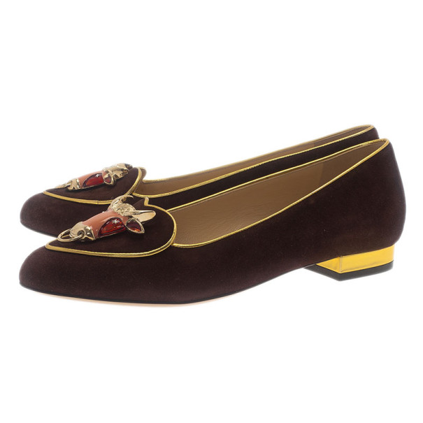 Charlotte Olympia Brown Suede Taurus Smoking Slippers Size 37.5