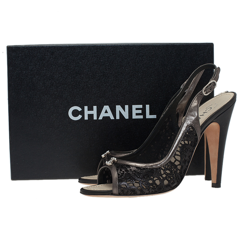 Chanel Black Cutout Leather CC Slingback Sandals Size 39