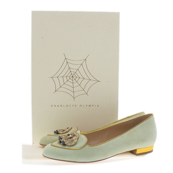 Charlotte Olympia Grey Suede Libra Smoking Slippers Size 38.5