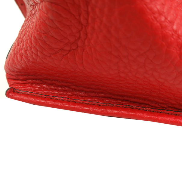 MCM Red Leather Drawstring Hobo