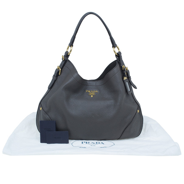 Prada Grey Vitello Daino Snap Hobo