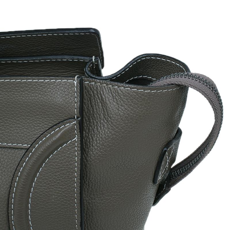 Celine Grey Leather Mini Luggage Tote Bag