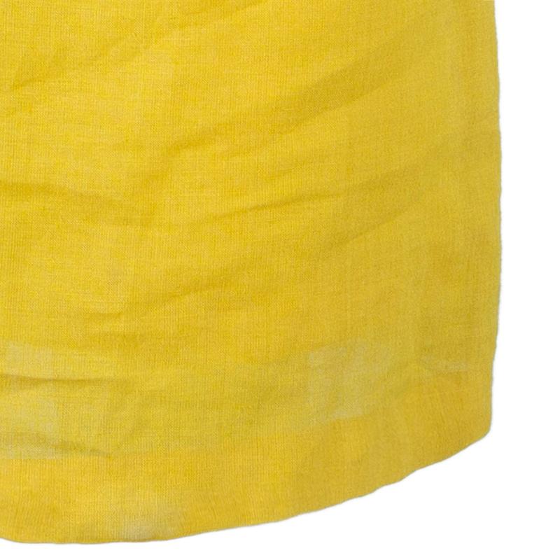Oscar de la Renta Yellow Strapless Linen Shift Dress M