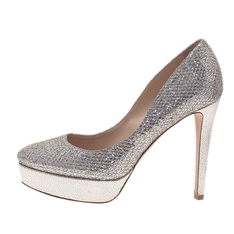 Jimmy Choo Silver Glitter Eros Platform Pumps Size 37
