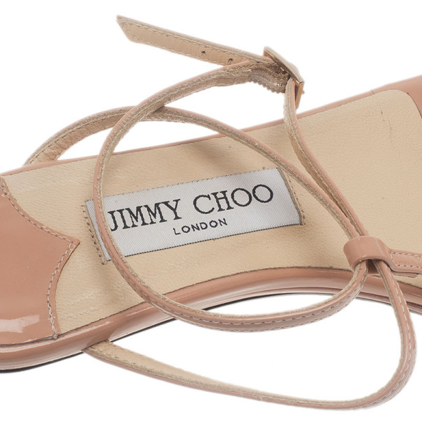 Jimmy Choo Nude Patent Leather Fiona T Strap Flat Sandals Size 37