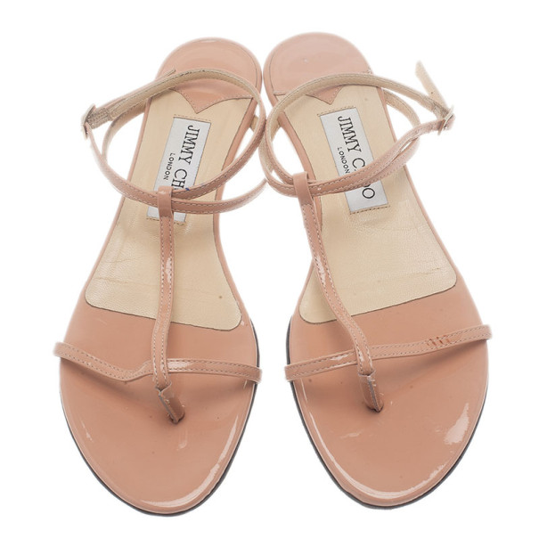 Jimmy Choo Beige Patent Leather Fiona T Strap Flat Sandals Size 37