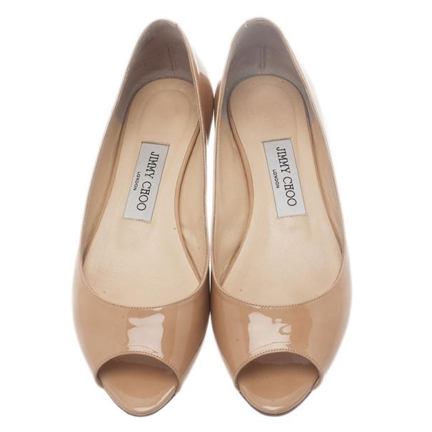 Jimmy Choo Nude Patent Beck Peep Toe Ballet Flats Size 37