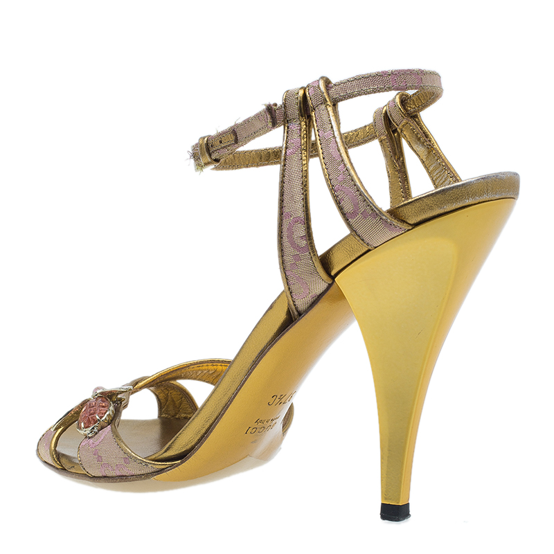 Gucci Begonia Rose GG Canvas Bee Jewel Sandals Size 37.5