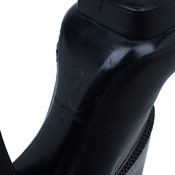 McQ by Alexander McQueen Black Leather Ankle Boots Size 38