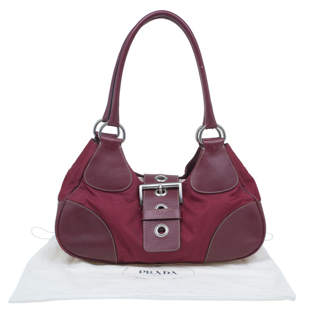 Prada Red Nylon Small Tessuto Moon Shoulder Bag
