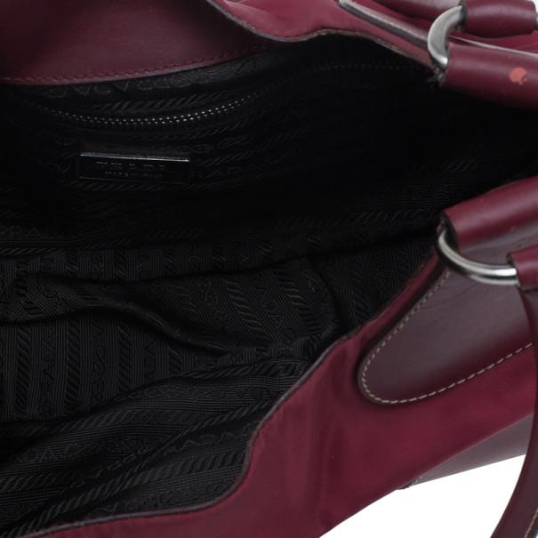 Prada Red Nylon Small Tessuto Moon Shoulder Bag