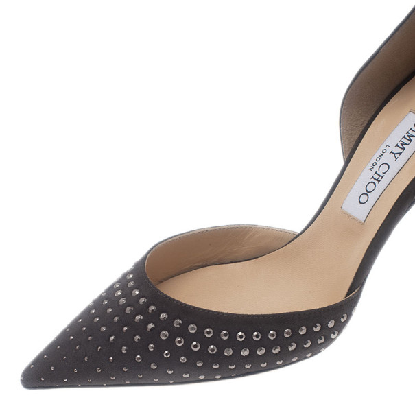 Jimmy Choo Grey Suede Studded Addison D'orsay Pumps size 40