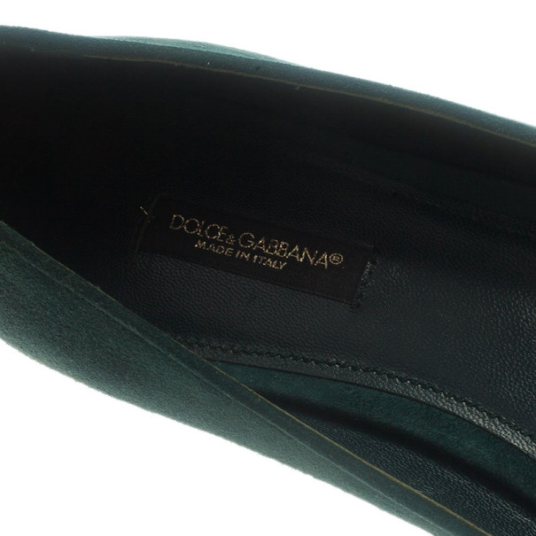 Dolce and Gabbana Green Suede Embellished Loafers Size 38