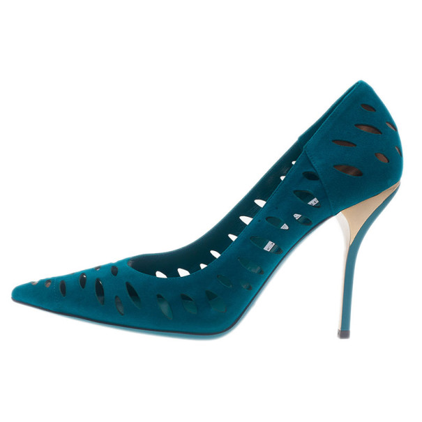 Jimmy Choo Teal Suede Talka Cutout Pumps Size 40