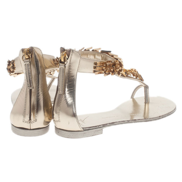 Giuseppe Zanotti Gold Metal Scale Leather Thong Sandals Size 36