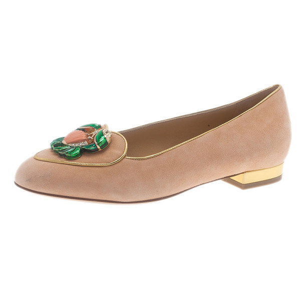 Charlotte Olympia Pink Suede Cancer Smoking Slippers Size 35