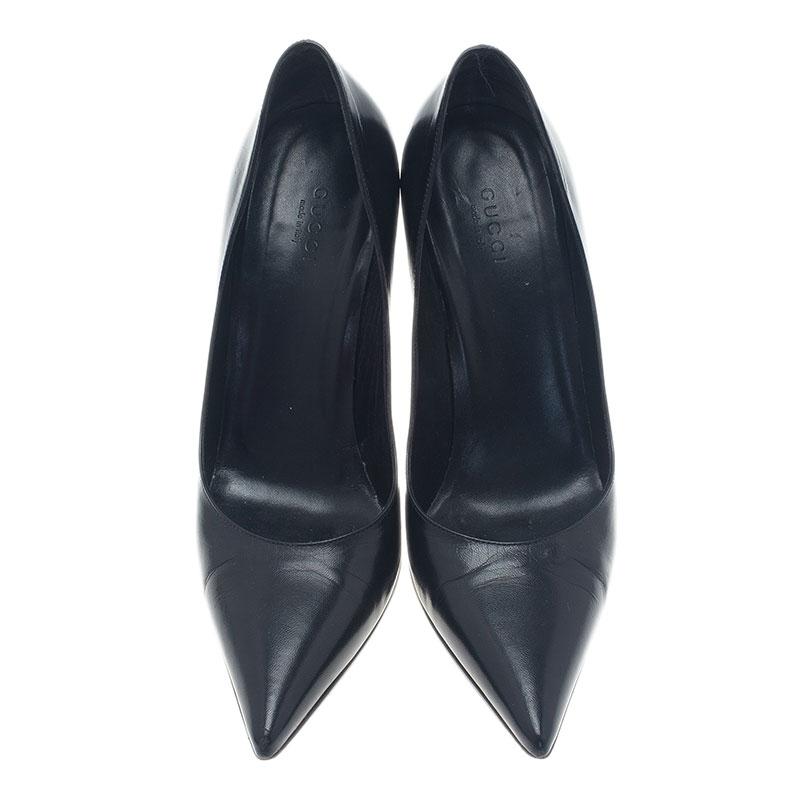 Gucci Black Leather Malibu Bamboo Heel Pointed Toe Pumps Size 38