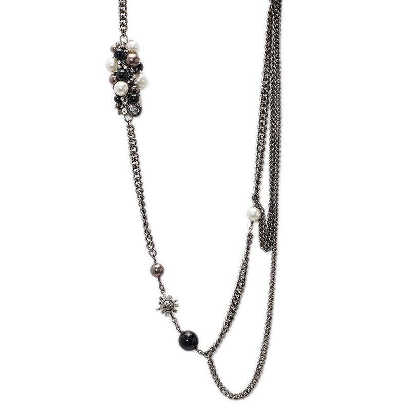 Chanel CC Crystal And Faux Pearl Long Silver Tone Necklace Belt