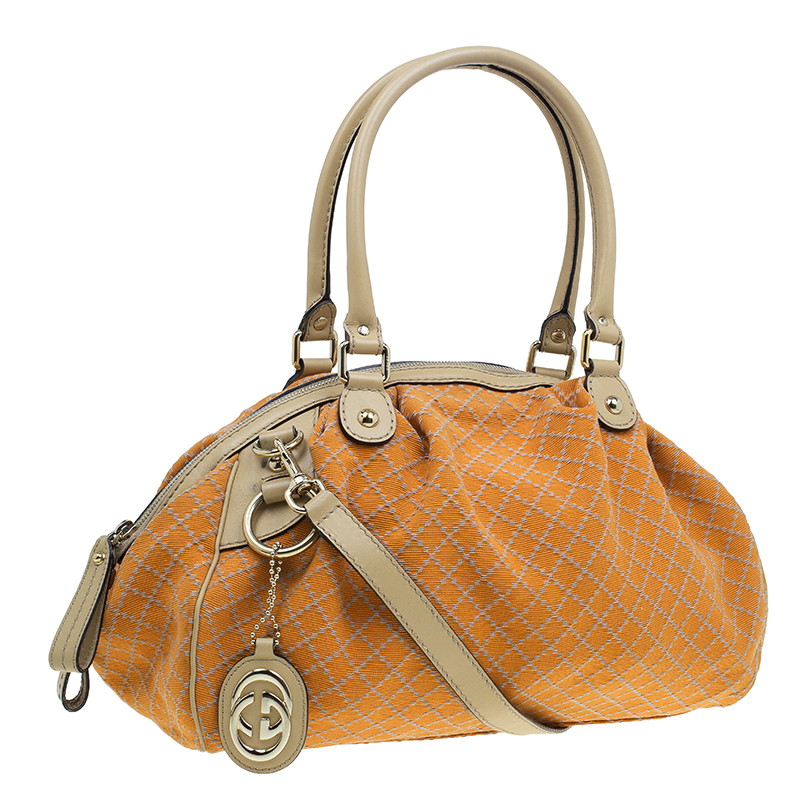 bf04ef6ca971 Gucci Orange Diamante Canvas Medium Sukey Boston Bag - Buy & Sell - LC