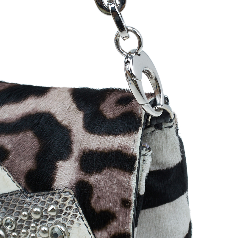 Jimmy Choo Animal Print Pony Hair Shoulder Bag