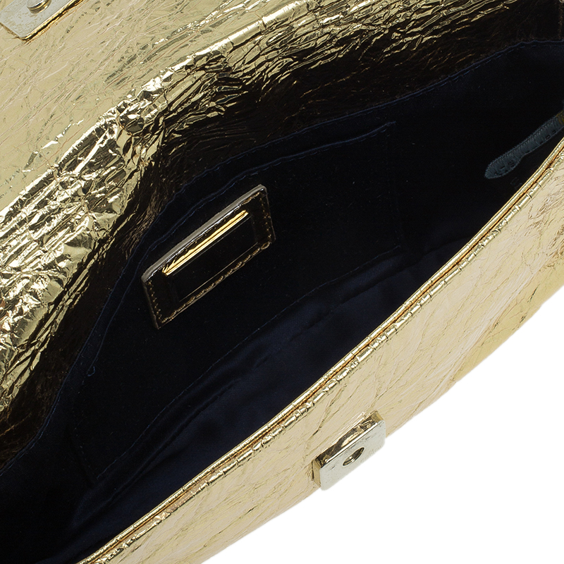 Fendi Gold Foil Mia Evening Bag