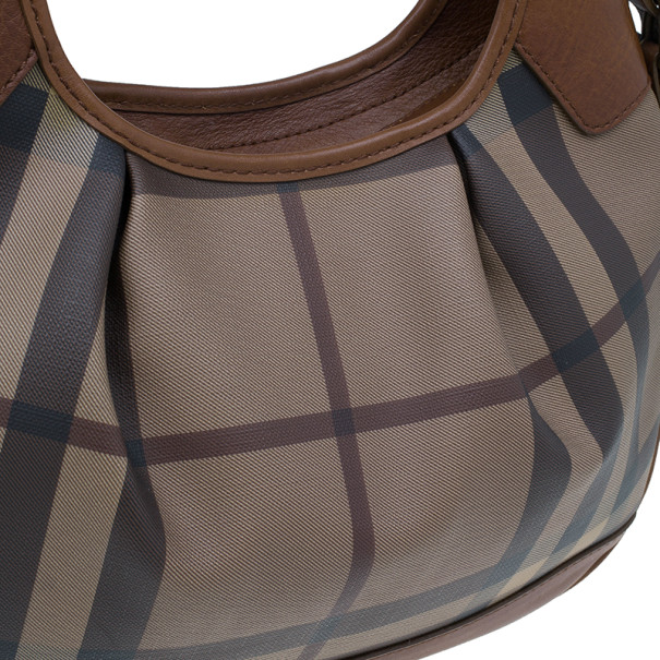Burberry Embossed Smoked Check Coated Canvas Medium Brooklyn Hobo