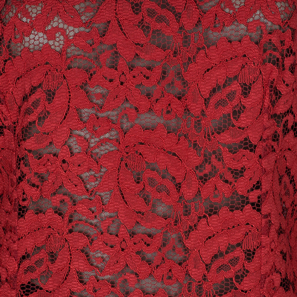 Dolce And Gabbana Red Lace Long Sleeve Top M
