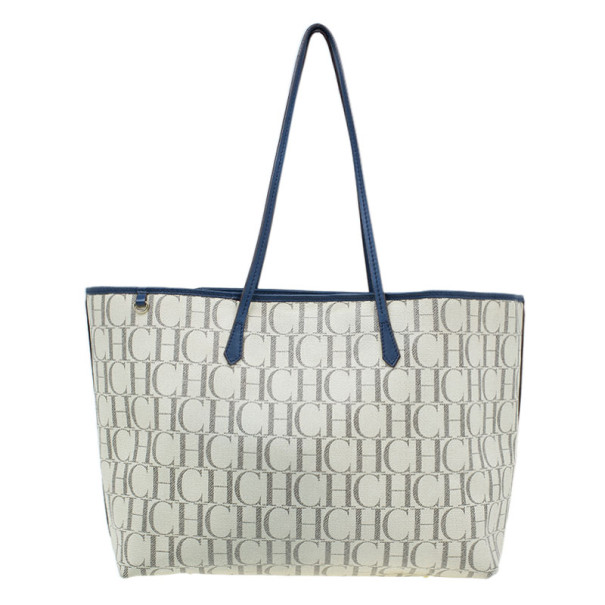 Carolina Herrera Monogram Coated Canvas Shopper Tote