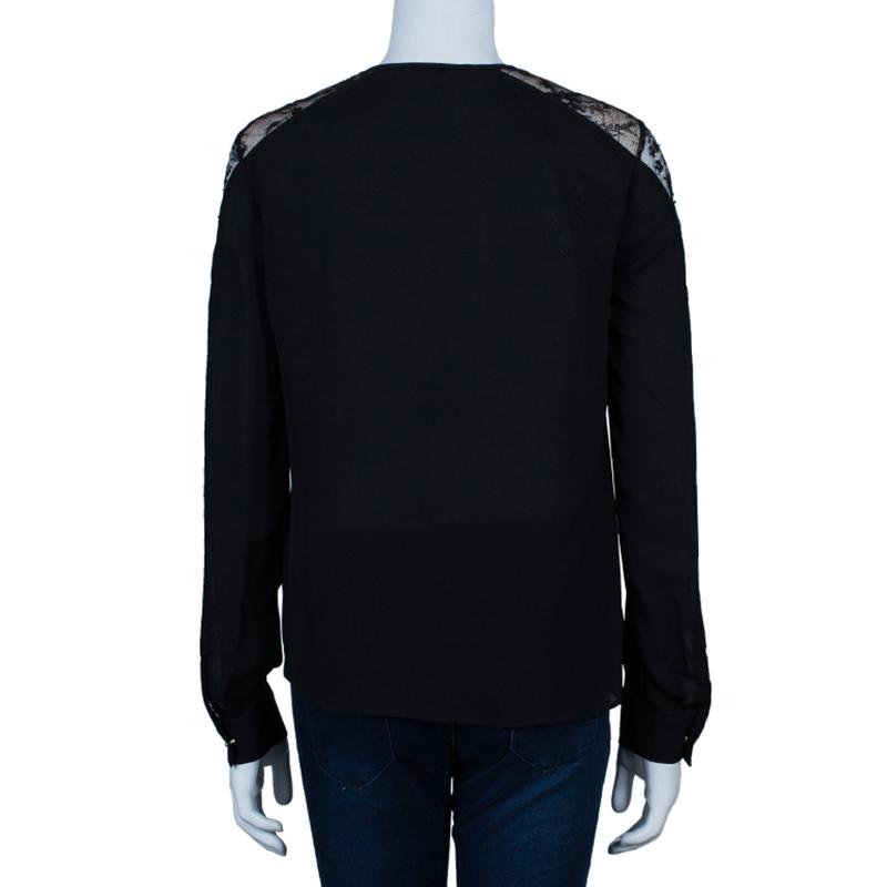 Elie Saab Black Lace Detail Long Sleeve Top S