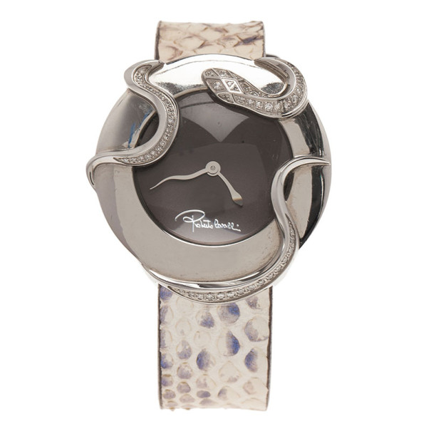 Roberto Cavalli Brown Stainless Steel Snake Diamonds Women's Wristwatch 33MM