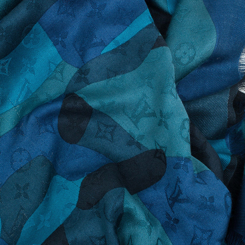 Louis Vuitton Blue Silk & Wool Camouflage Monogram Shawl