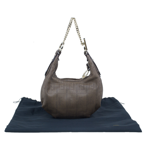Fendi Brown Limited Edition Leather Chef Chain Link Hobo