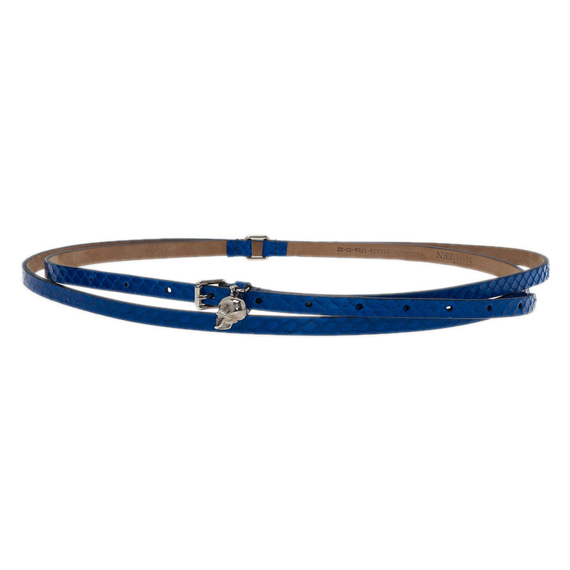 Alexander McQueen Blue Watersnake Skull Charm Belt 80 CM