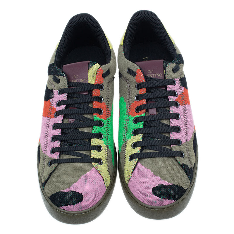 Valentino Multicolor Camouflage Canvas Sneakers Size 43