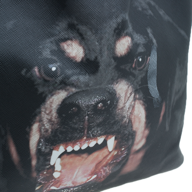 Givenchy Black Coated Canvas Dog Print Large Shopper Tote
