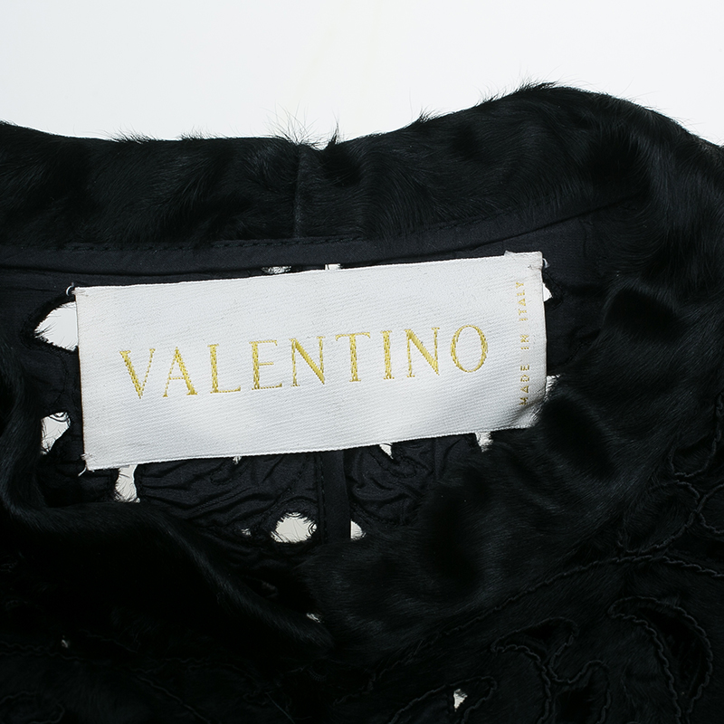 Valentino Black Pony Hair Cutout Coat S
