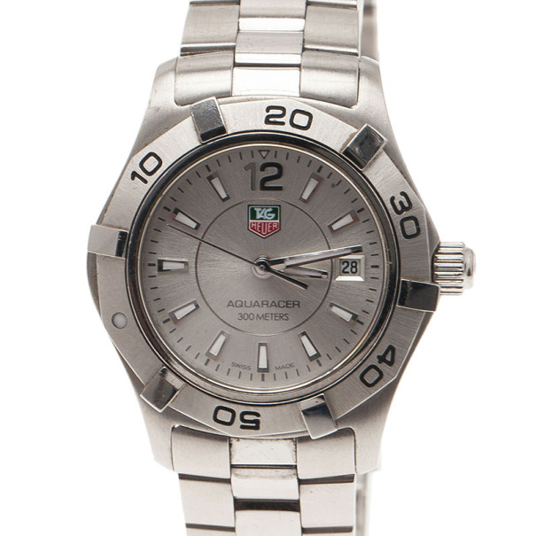 Tag Heuer Silver Stainless Steel Aquaracer Women's Wristwatch 27MM